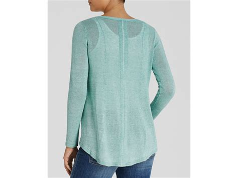 high low sweater eileen fisher high low linen sweater in green lyst