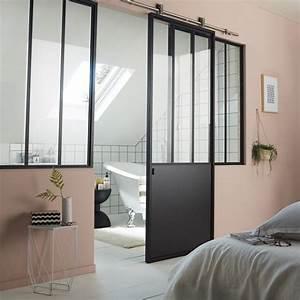 ou trouver une porte coulissante atelier style verriere With porte de douche coulissante avec vasque salle de bain noir mat