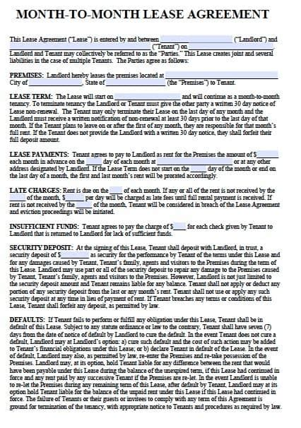 Free Printable Alabama Month To Month Rental Agreement Free Month To Month Rental Agreements Pdf And Word Templates