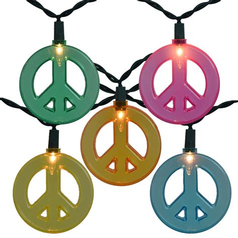 multi color peace sign string lights