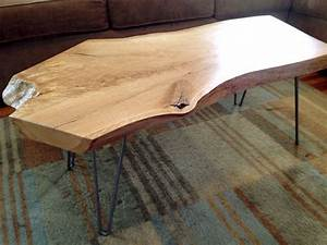 Live edge slab coffee table white oak for Oak slab coffee table