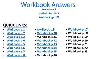 1 answer the questions using the. Avancemos 2 - Unidad 1 Lección 1 Workbook Answers PPT w/ Audio | TpT