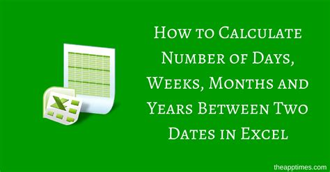 calculate number days excel theapptimes