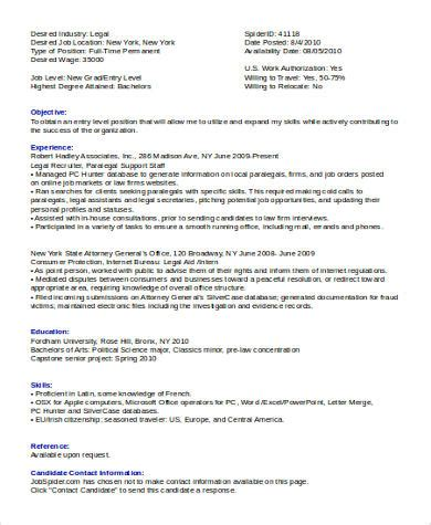 Entry Level Attorney Resume by Sle Assistant Resume 8 Exles In Word Pdf
