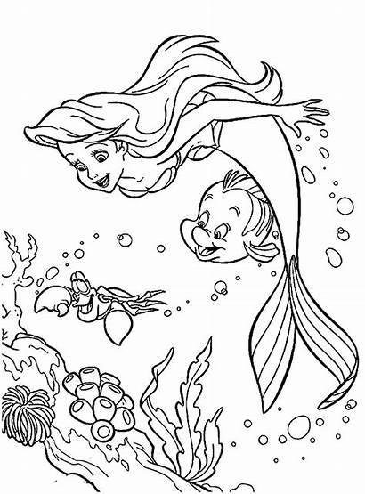 Ariel Mermaid Coloring Pages Cartoon Castle