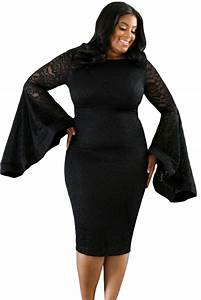 Sexy Black Plus Size Bell Sleeves Lace Dress