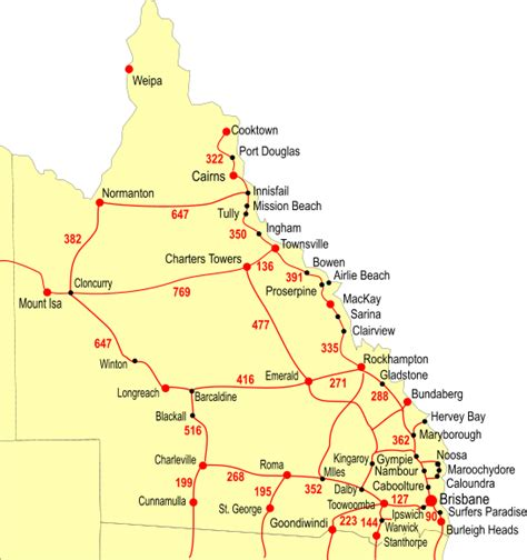 queensland road map large australian locality guide