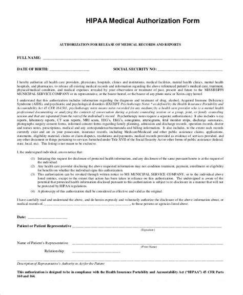 Privacy Release Form Template by 9 Sle Hipaa Forms Sle Templates