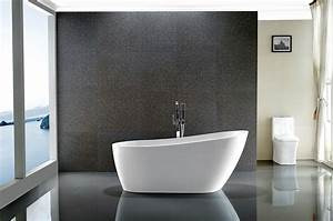 Vanity, Art, Freestanding, White, Acrylic, 55, Inch, X, 28, Inch, Bathtub, With, Slotted, Overflow, And, Drain
