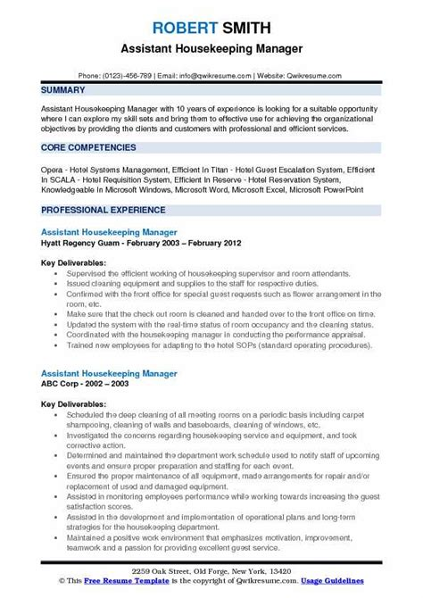 Resume Format For Assistant Manager by Assistant Housekeeping Manager Resume Sles Qwikresume