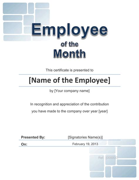 employee of the month certificate template employee award cetificate free template for word