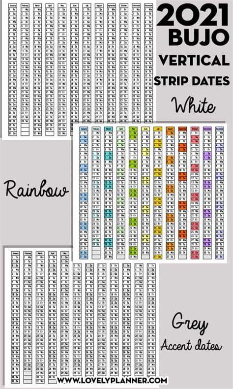 printable  vertical bullet journal date strips