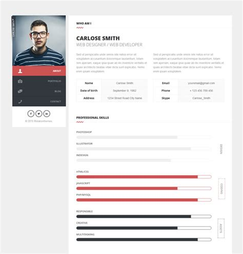 Best Resume Portfolio Websites by 20 Best Cv Resume And Personal Portfolio Html Templates