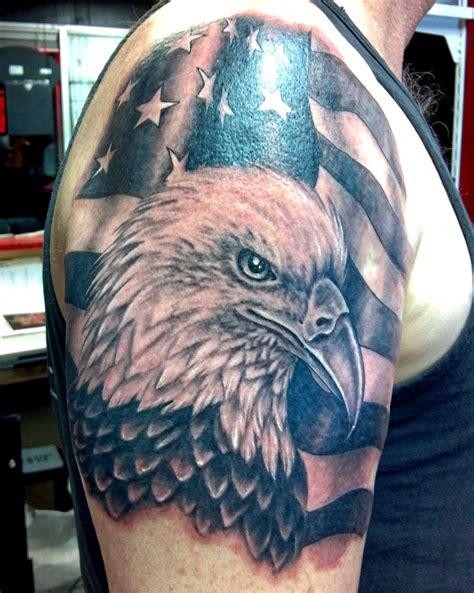 black grey american flag eagle tattoo  shoulder  men