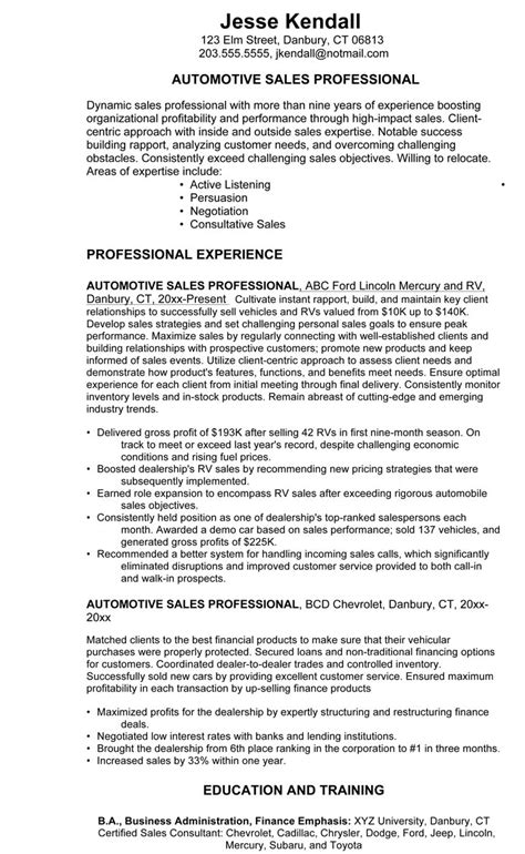 auto sales resume samples car salesman resume example 3