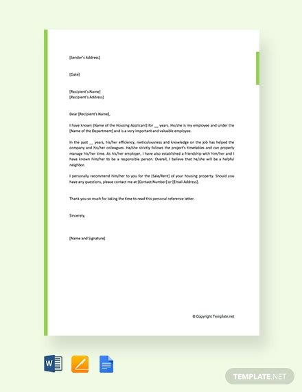personal reference letter  housing template