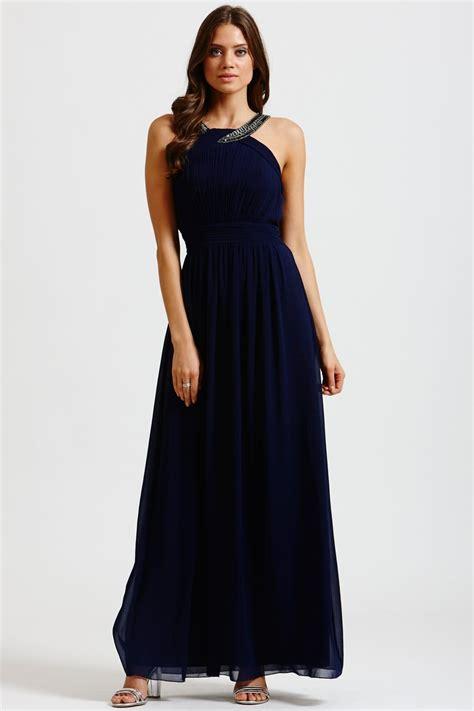 navy chiffon embellished twist maxi dress
