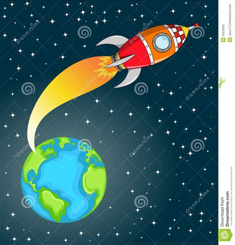 Space Rocket Leaving The Earth Stock Photos - Image: 30578263