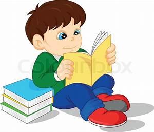 Illustration of cute boy reading books | Stock Vector ...