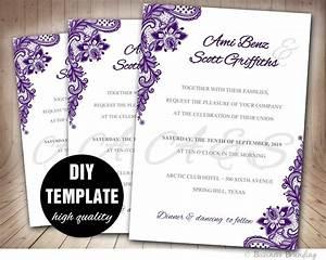 lace purple wedding invitation diyaubergine wedding With wedding invitation templates violet