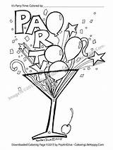 Coloring Cocktail Printable Party Pages Martini Recipes Glass Confetti Streamer Balloon Print Cocktails Filled Fun Pdf Birthday Balloons Adult Adults sketch template