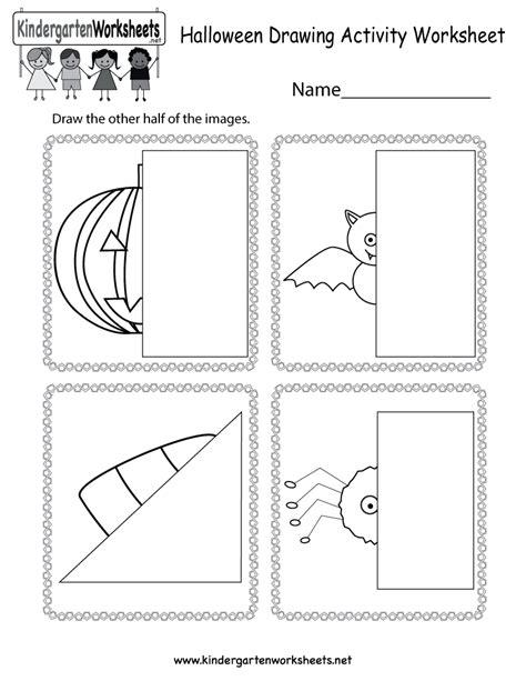 halloween drawing activity worksheet  kindergarten