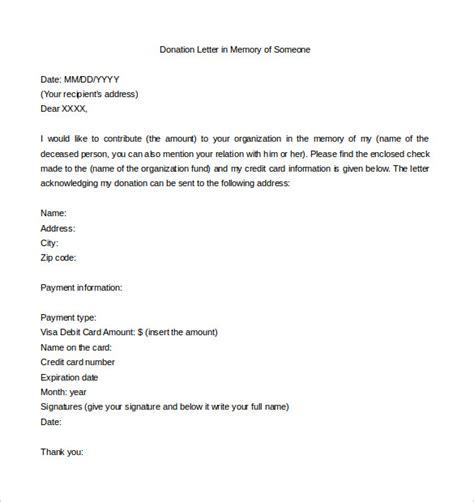 sample donation letter  memory   rota template