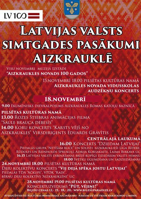 Latvijas valsts simtgades pasākumi Aizkrauklē novembrī ...