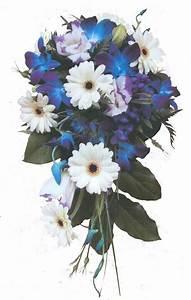 Cascade wedding bouquet with blue dendrobium orchids ...
