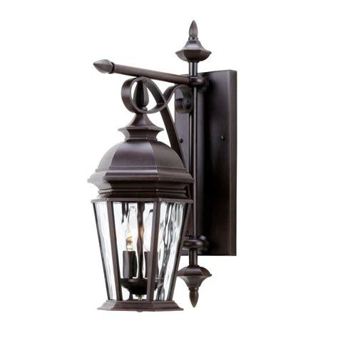 hton bay georgetown 2 light bronze outdoor wall lantern