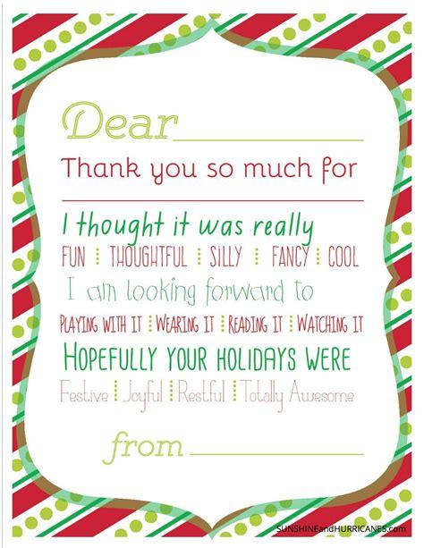 christmas printable thank you cards for kids