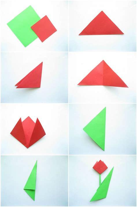 einfache papierblumen falten anleitung einfache origami tulpe falten mit kindern schule