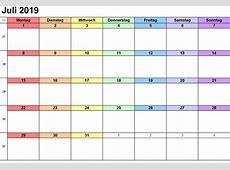 Kalender Juli 2019 zum Ausdrucken [PDF, Excel, Word