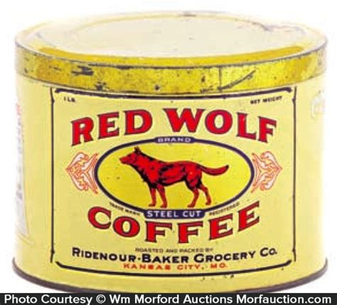 Wolf drinkable coffee mug with removable stainless steel inner. Antique Advertising   Red Wolf Coffee Can • Antique Advertising