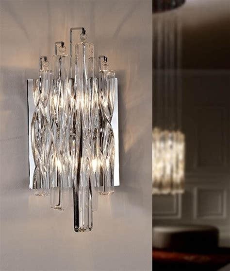 wall light  swirled crystal glass