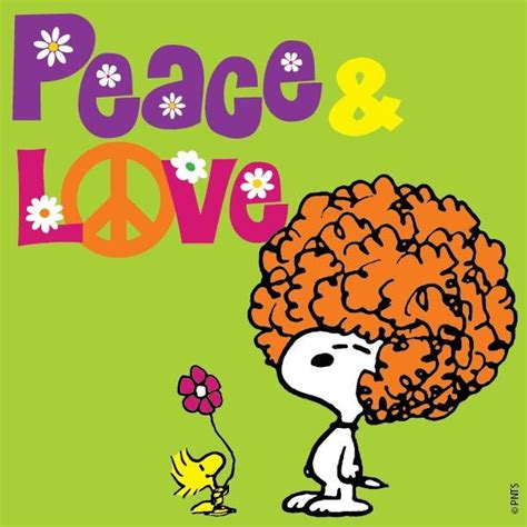 peace  love snoopy   afro  woodstock holding