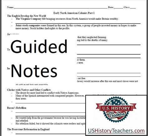 guided notes early american colonies lesson plan age of exploration