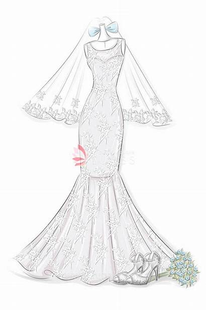 Sketch Mermaid Neck Gown Bridal Sketches Drawing
