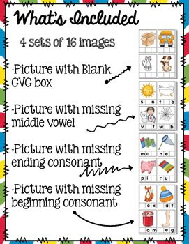 cvc word building cards blank  missing letter tpt