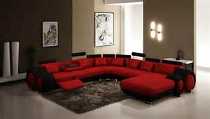 modern living room interior design with red curved leather