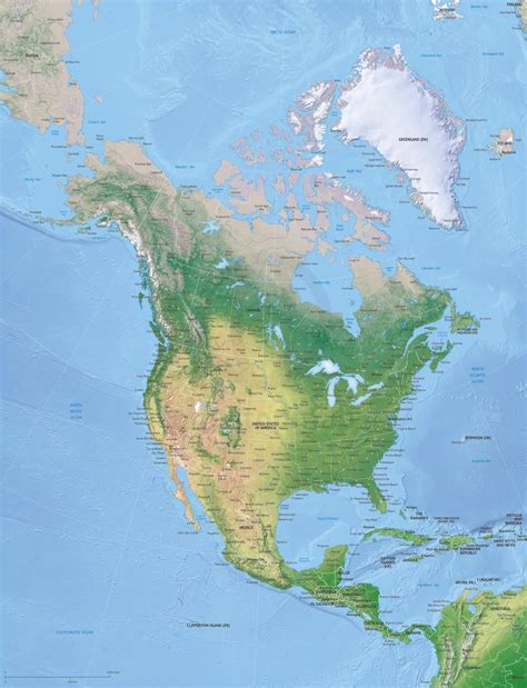 vector map north america continent xl relief  stop map