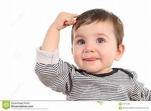 Baby thinking an idea stock photo. Image of isolated ...