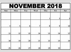 Cute November 2018 Calendar Printable – Business Calendar