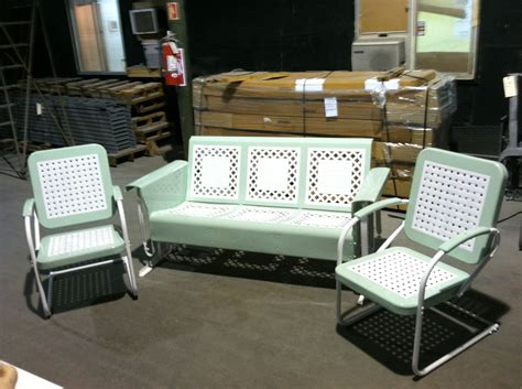 vintage metal porch glider set with chairs by