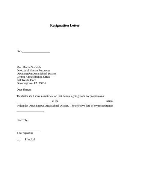 letter format template polite resignation letter format