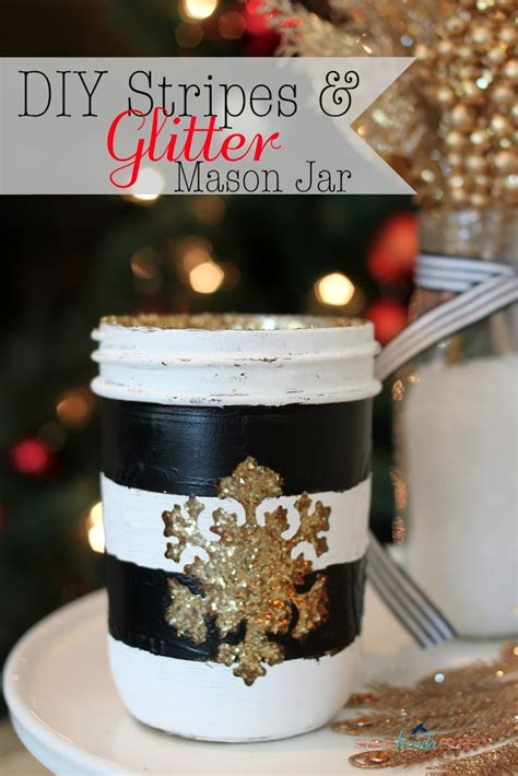 diy stripes  glitter mason jar shes kinda crafty