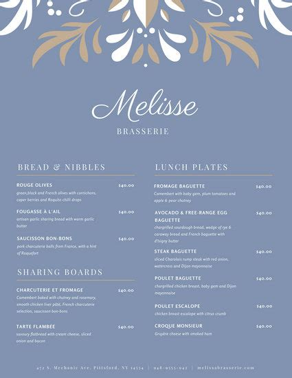 customize  french menu templates  canva
