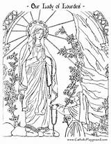 Coloring Pages Catholic Lady Lourdes Adult Sheets Preschool Colouring Saint Adults Playground Bernadette Religious Crafts Catholicplayground Ccd Rosary Religion Sacraments sketch template