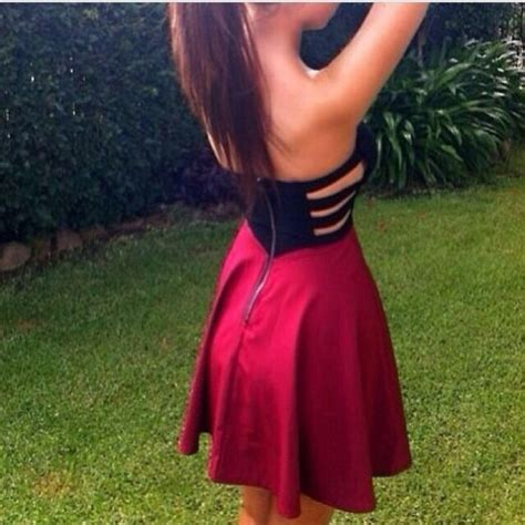 Dress red black cute tumblr red black - Wheretoget