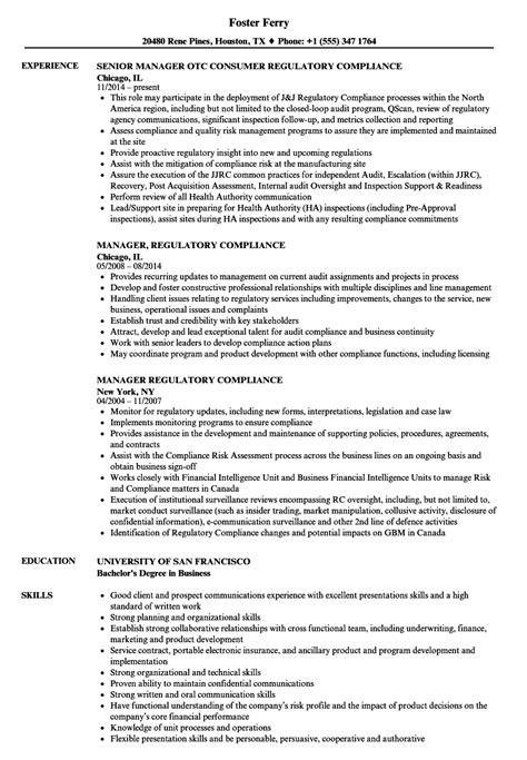 manager regulatory compliance resume sles toms